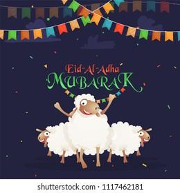 Happy sheeps and bunting flags on confetti blue background. Eid-Al-Adha Mubarak, Islamic festival of sacrifice celebration concept.