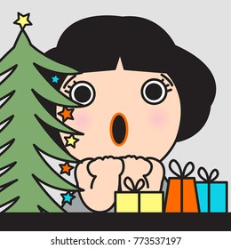 Happy Shocked Girl Surprised To See Christmas Tree And Gift Concept Card Caracter illustration
