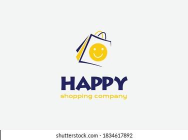 happy shop logo design.happy shopping company logo design.happy shopping e commerce logo.