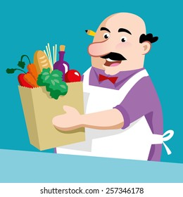 Happy shopkeeper with different products; Vector Illustration