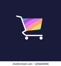 Happy shopping logo, rainbow logo design template icon eps 10