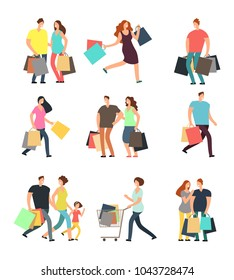 Happy shopping people. Man, woman and shoppers with gift boxes and shopping bags. Vector cartoon characters set. Woman and man cartoon shopper, buyer with bag purchase. Vector illustration