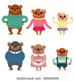 Happy six member bear family characters in warm clothing happy smiling