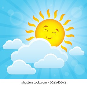 Happy sleeping sun theme image 2 - eps10 vector illustration.