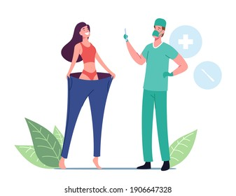 Happy Slim Woman Wearing Oversize Pants, Surgeon Doctor Male Character Holding Scalpel. Bariatric Stomach Reducation, Liposuction, Weight Loss or Slimming Concept. Cartoon People Vector Illustration