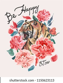happy slogan with tiger and flowers illustration
