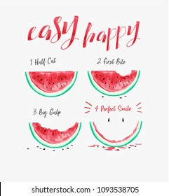 happy slogan with watermelon illustration