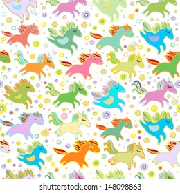 Happy small horses pattern