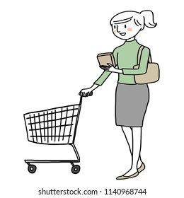 Happy and smart customer concept with lady pushing a shopping trolley and reading the nutrition facts label on food package. Woman pushing an empty shopping cart. Young woman shopping in supermarket.