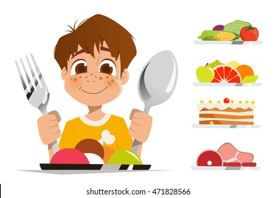 Happy smile boy kid child holding spoon and fork eating meal dish