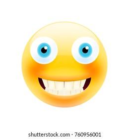 Happy Smile Emoticon with Teeth. Realistic Modern Emoji. Smile icon. Isolated Illustration on White Background