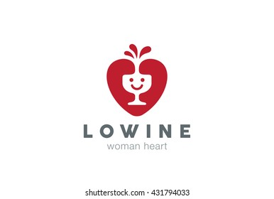 Happy smile Glass Wine Heart Logo design vector template. Love Alcohol Drink Winery Shop store boutique concept Logotype Bar icon.