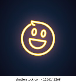 Happy smile neon icon. Cheerful emoji golden illumination symbol. Laughing emoticon expression of positive feelings. Label isolated on black. Element of interface. Vector isolated on black