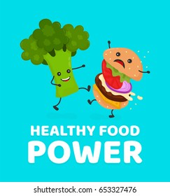 Happy smile strong broccoli kick burger, hamburger. Vector modern flat style cartoon character illustration icon design.Card, sticker,poster,t-shirt. Healthy food against unhealthy fast food.Nutrition