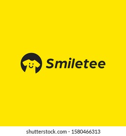 Happy smile tee tshirt clothing company logo icon with simple smiling symbol