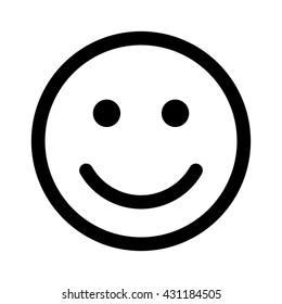 Happy smiley face emoticon / emoji line art vector icon for apps and websites