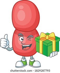 Happy smiley neisseria gonorrhoeae cartoon mascot design with a gift box. Vector illustration