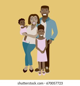 Happy and smiling African Family portrait flat vector, cartoon characters.