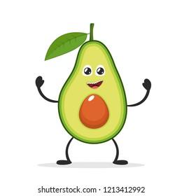 Happy smiling avocado. Funny fruit concept. Flat cartoon character icon. Vector illustration.