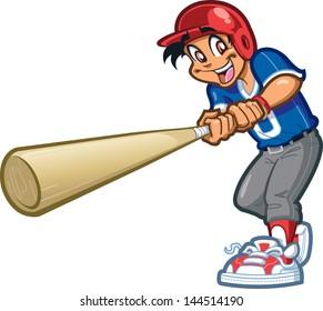 Happy Smiling Baseball Softball Little League Player Swinging a Giant Bat with Batter's Helmet