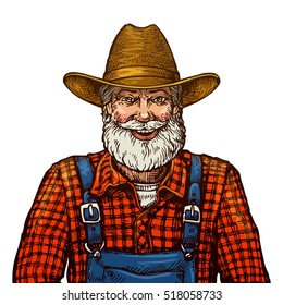Happy smiling bearded farmer in hat