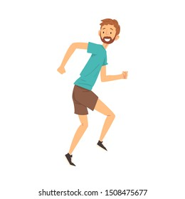 Happy Smiling Bearded Man in Casual Clothes Having Fun Cartoon Vector Illustration