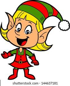 Happy Smiling Blonde Girl Christmas Santa's Elf