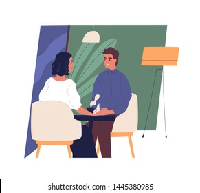 Happy smiling boy and girl sitting at cafe table and talking or chatting. Cute young man and woman on romantic date or friendly meeting. Everyday life scene. Modern flat cartoon vector illustration.