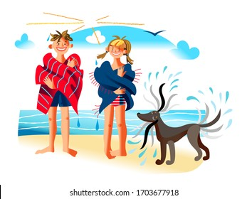 Happy smiling boy girl wrapped in towel. Dog shaking off water. Children spending time on beach. Summertime water fun at seaside. Summer outdoor activity with adorable pet. Vector illustration