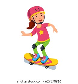 Happy smiling boy kid wearing helmet and kneepads skating on skateboard. Skateboarding ride. Flat style character vector illustration isolated on white background.