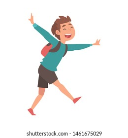 Happy Smiling Boy Running with Backpack at Airport Vector Illustration