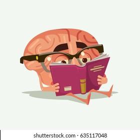 Happy smiling brain character read book. Vector flat cartoon illustration