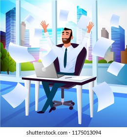 Happy Smiling Businessman, Company Leader or Office Worker Throwing Documents in Air and Enjoying Business Success While Sitting at Workplace in Office Cartoon Vector Illustration. Good Day at Work