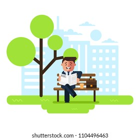 Happy smiling businessman office worker character reading newspaper sitting bench in public park. Summer time coffee break concept. Vector flat cartoon graphic design isolated illustration