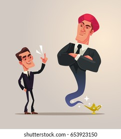 Happy smiling businessman office worker and business gin characters. Vector flat cartoon illustration