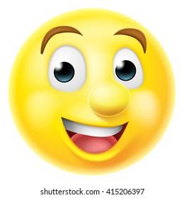 A happy smiling cartoon emoji emoticon smiley face character