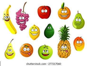 Happy smiling cartoon fruits characters with banana, grape, apple, orange pear pineapple lemon, avocado, apricot and mango