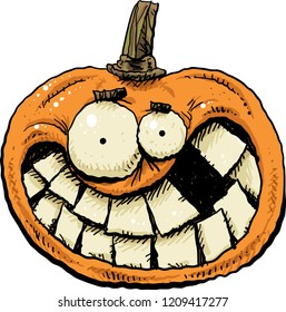 A happy, smiling cartoon pumpkin with huge, crooked teeth.