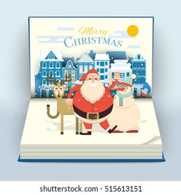 Happy smiling cartoon santa, deer and snowman waving hands in cute town street scene on a blank open pop up book. Christmas holiday decorations. Snowfall on Christmas eve. Xmas vector illustration