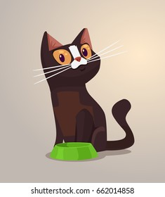 Happy smiling cat character sits near bowl. Vector flat cartoon illustration