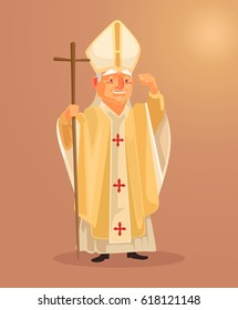 Happy smiling catholic priest mascot character dressed in white gold clothes. Vector flat cartoon illustration