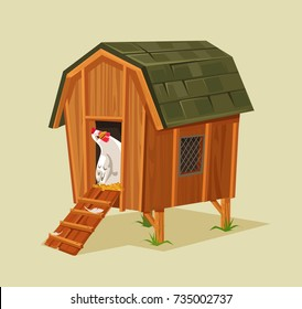 Happy smiling chicken character looking out nest. Vector flat cartoon illustration