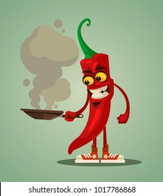 Happy smiling chili pepper frying. Vector flat cartoon illustration