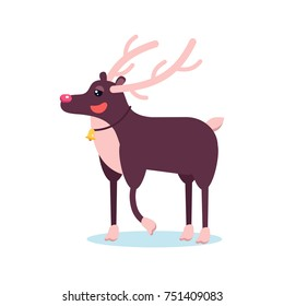 Happy smiling christmas deer cartoon character smiling with raising hoof. Cheerful positive xmas reindeer. Santa caribou vector icon illustration. Holiday elk symbol.