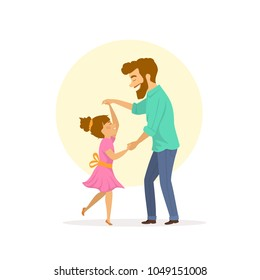 happy smiling cute father and daughter dancing isolated vector illustration scene
