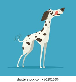 Happy smiling dalmatian dog character. Vector flat cartoon illustration