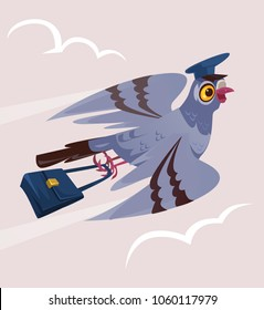 Happy smiling dove pigeon bird postman courier character bring deliver letter mail correspondence message. Delivery communication postage service transportation email. Vector flat cartoon isolated