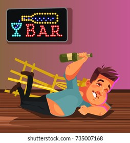 Happy smiling drunk man character laying on bar floor. Funny party concept. Vector flat cartoon illustration