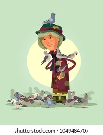 Happy smiling elderly woman character feeding pigeons. Vector flat cartoon illustration