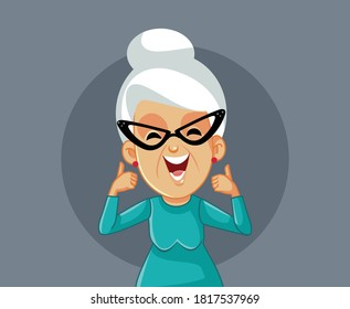 Happy Smiling Elderly Woman Holding Thumbs Up. Senior lady showing approval feeling optimistic